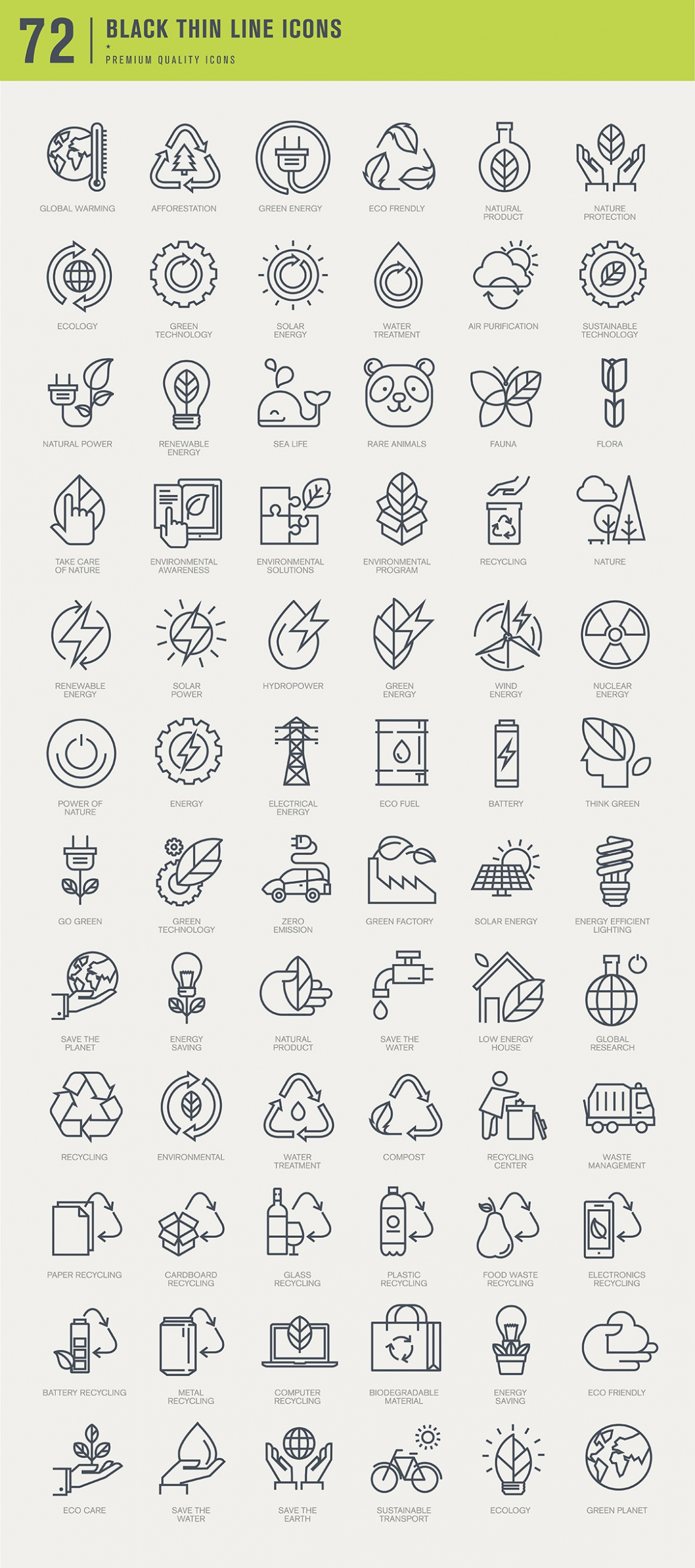 Set of Thin Line Icons for Green Technology