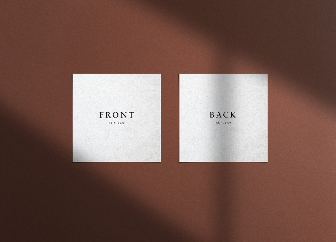 Square Embossed Business Card Mockup