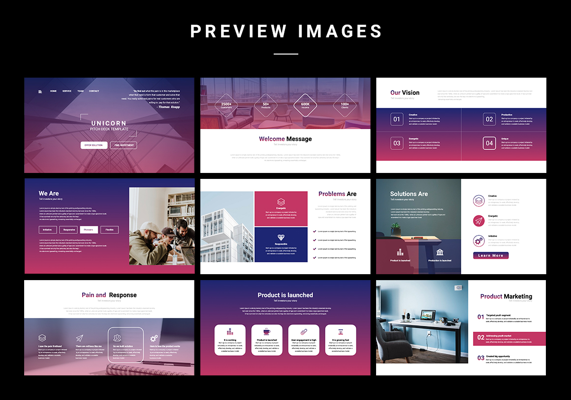 Unicorn Startup Pitch Deck Powerpoint Template