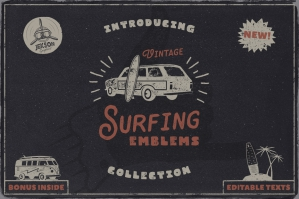 Vintage Surfing Logos Summer Set
