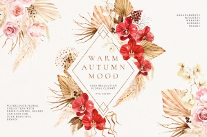 Warm Autumn - Watercolor Floral Set