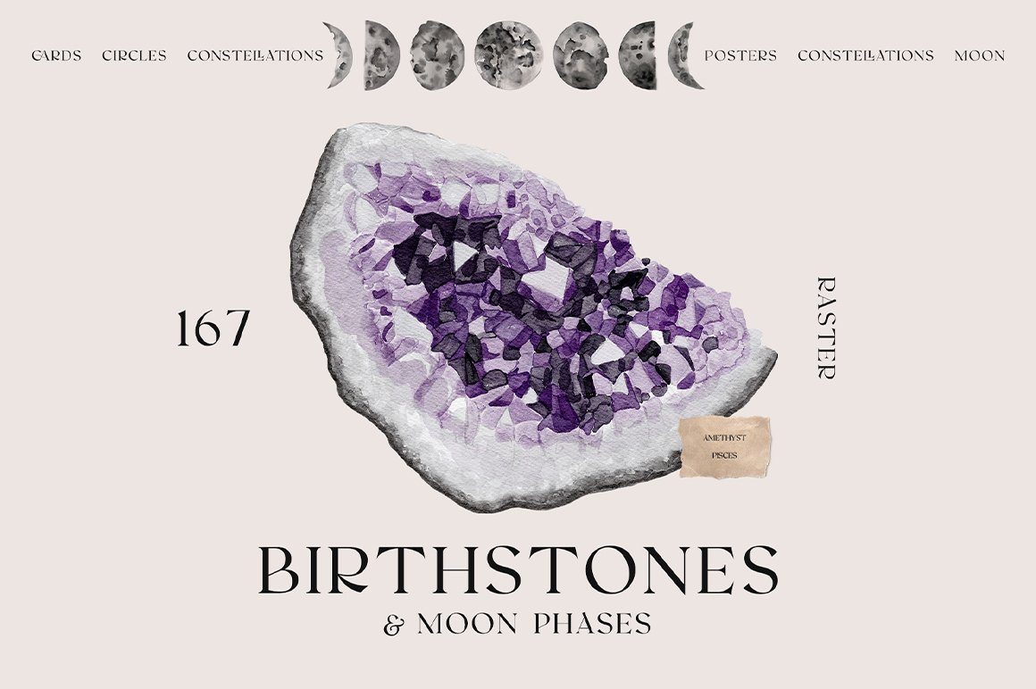 Watercolor Birthstones & Moon Phases