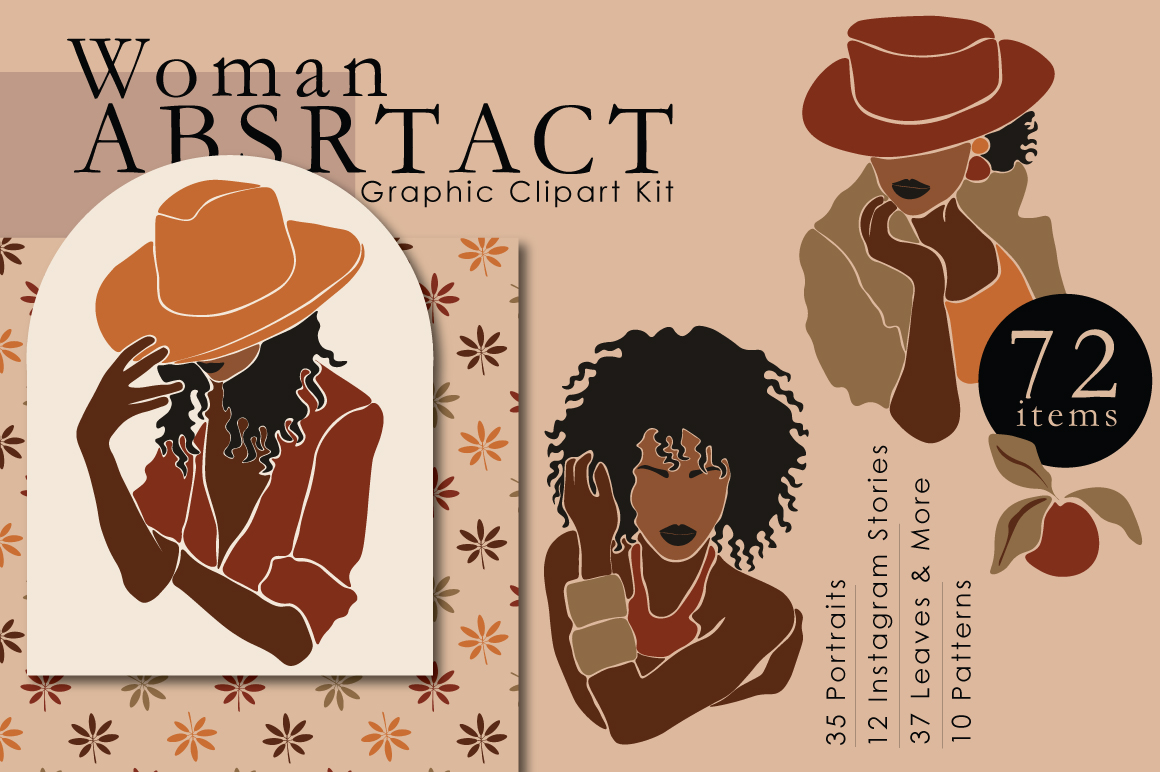 Woman Abstract Graphic Clipart Kit