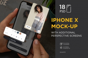 iPhone X 3D Screens Mock-Up