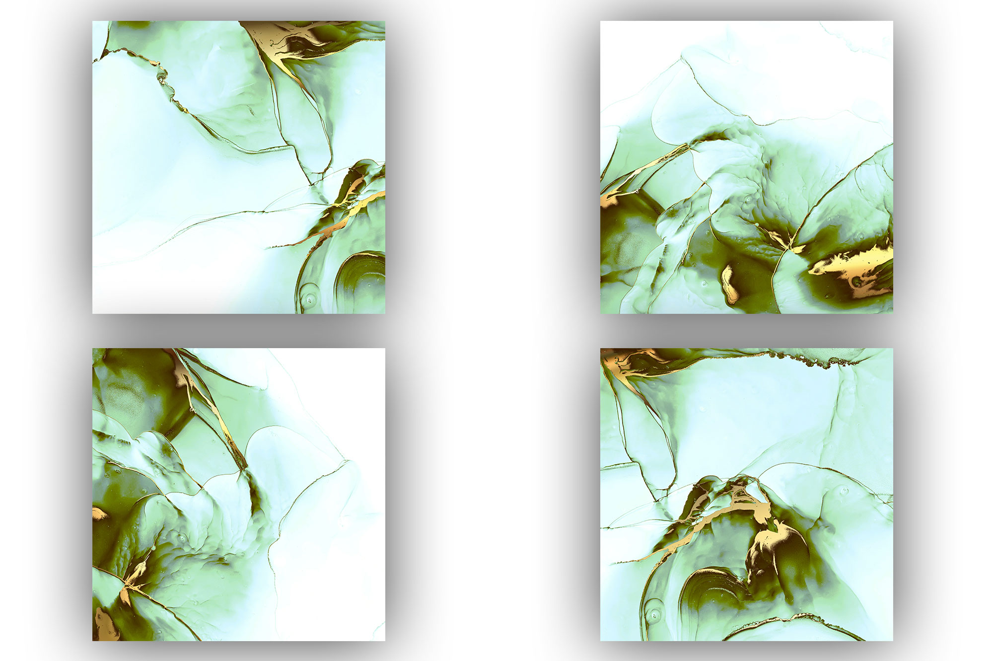 Alcohol Ink Gold Green Collection 2