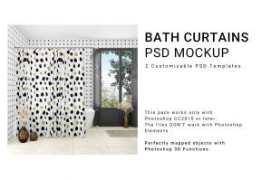 Bath Curtains 3D Mockup Set