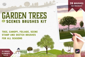Garden Trees + Scenes Procreate Kit