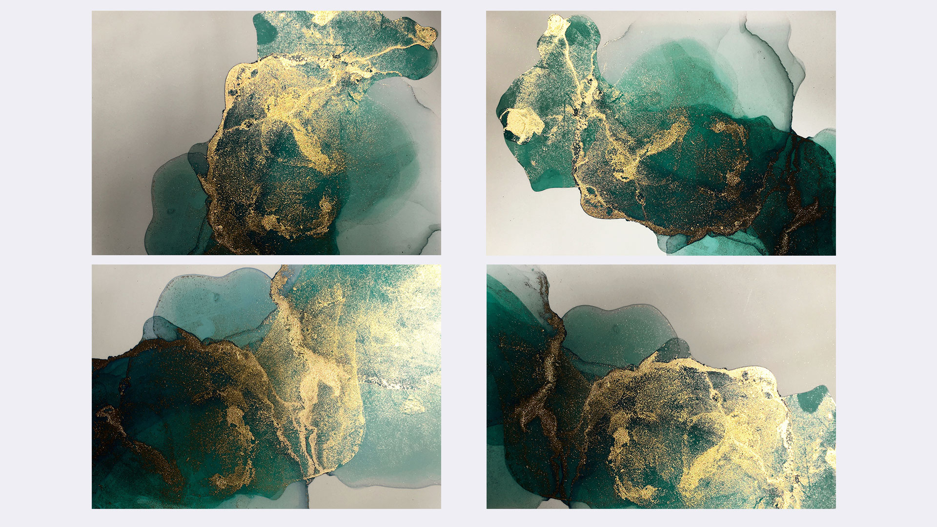 Gold & Blue Alcohol Ink Textures
