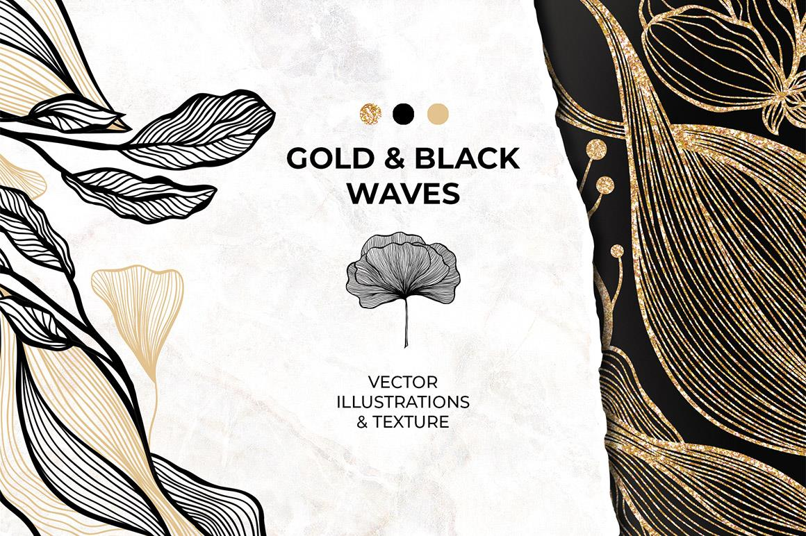 Gold & Black Waves, Lines and Flowers