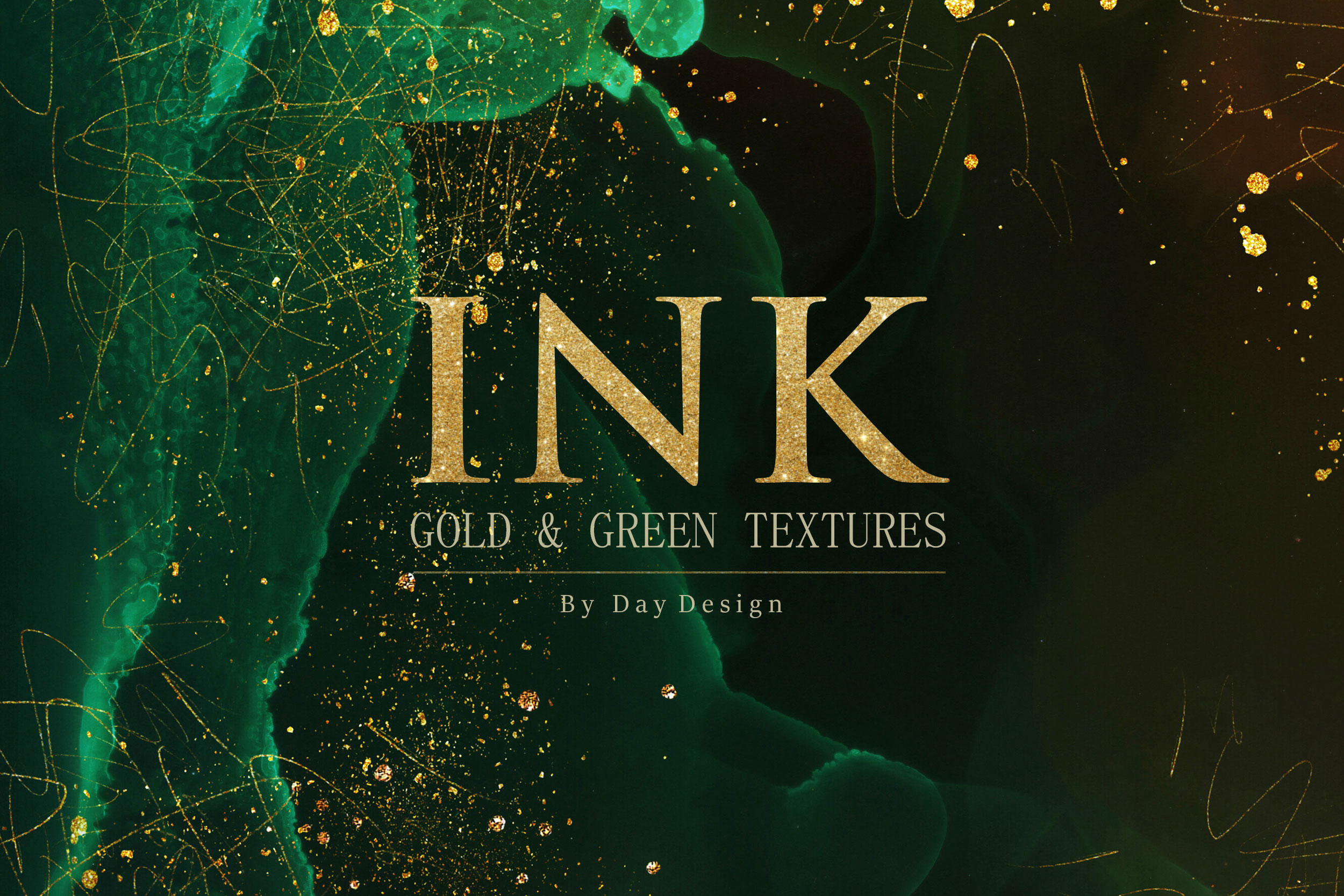 Green & Gold Ink Textures