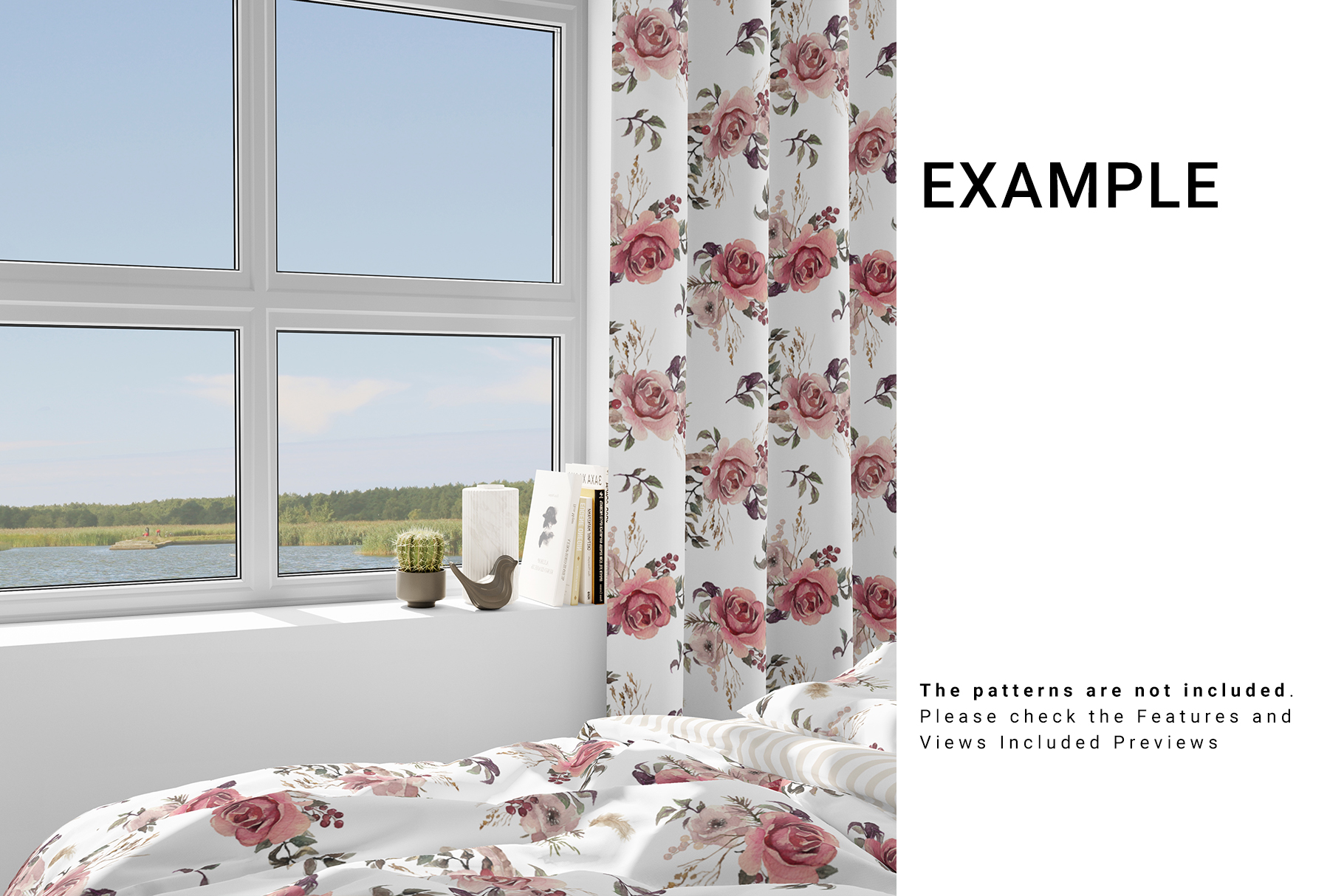 Home Textile - Bed Set and Curtain 3D Mockup