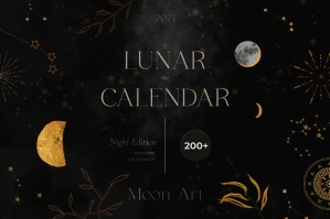 Lunar Calendar 2021 Night Edition - Black & Gold