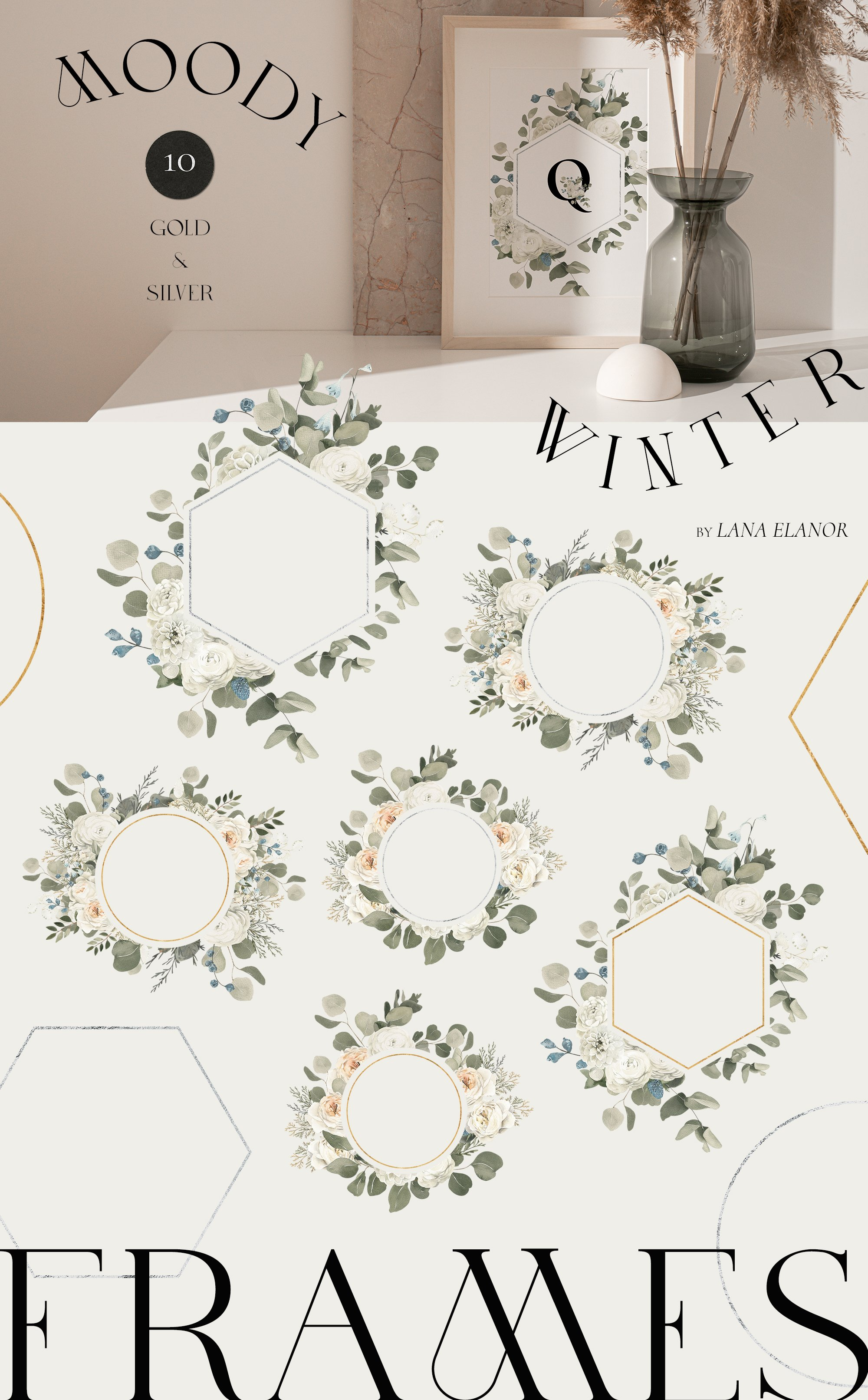 Moody Winter Floral Watercolor Collection