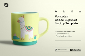 Porcelain Coffee Cups Set Mockup