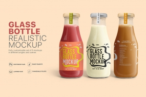 Realistic Glass Bottle Mockups