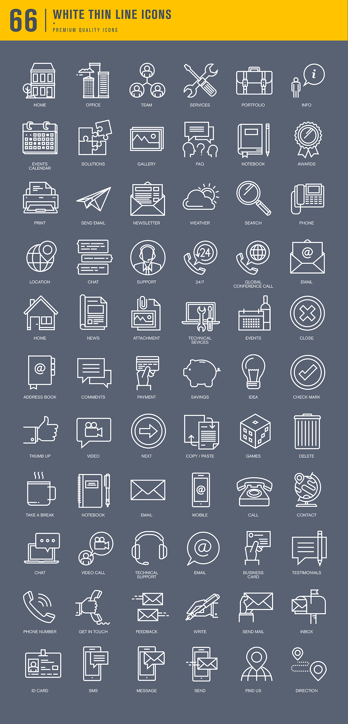Set of Thin Line Basic Icons