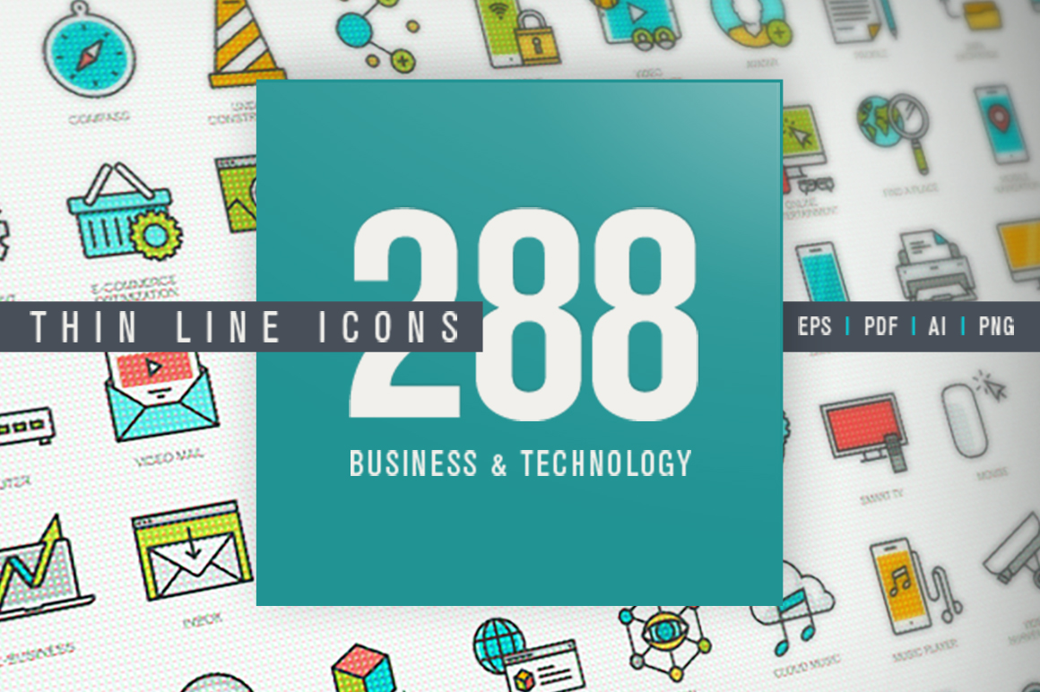 Set of Thin Line Icons for Business and Technology