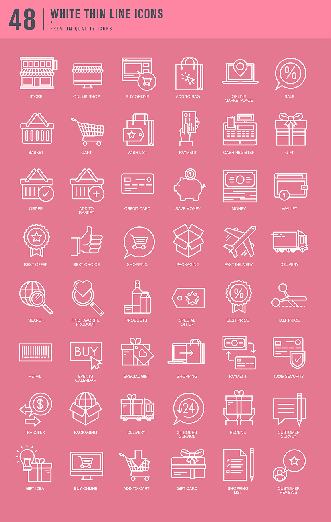 Set of Thin Line Icons for Shopping and E-commerce
