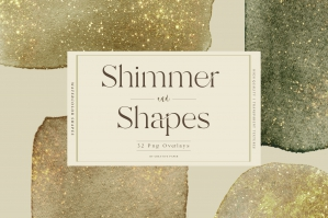 Shimmer Gold Watercolor Shapes