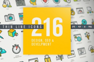 Thin Line Icons Set for Design, SEO, Development