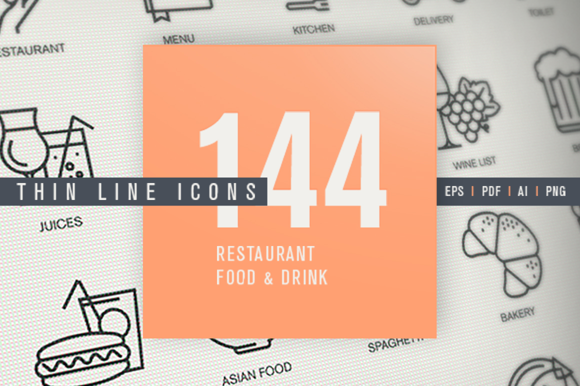 Thin Line Icons Set for Restaurant, Food & Drink