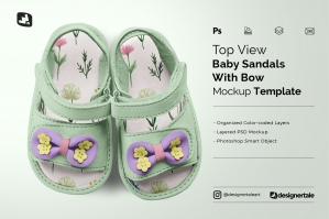 Topview Baby Sandals With Bow Mockup