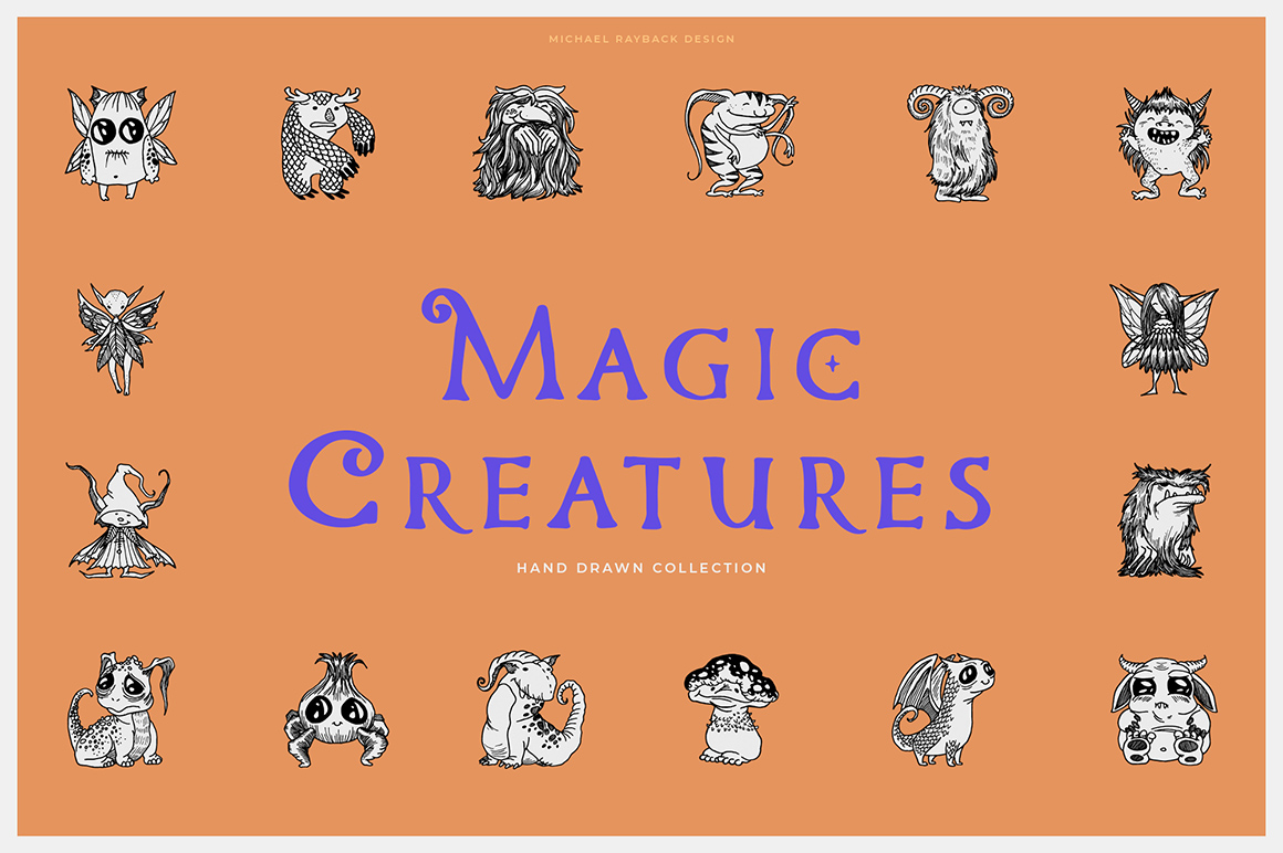 100 Hand Drawn Elements - Creatures