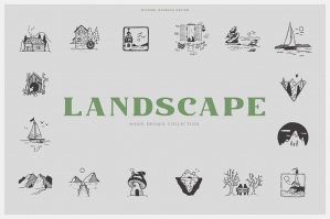 150 Hand Drawn Elements - Landscape