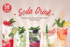 30 Mixed Fruit Soda Drinks Watercolor