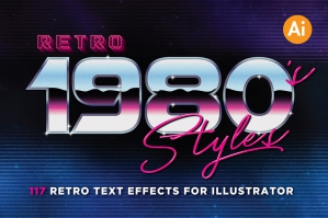80's Retro Text Graphic Styles for Illustrator
