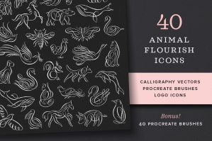 Animal Flourish Icons & Procreate Brushes