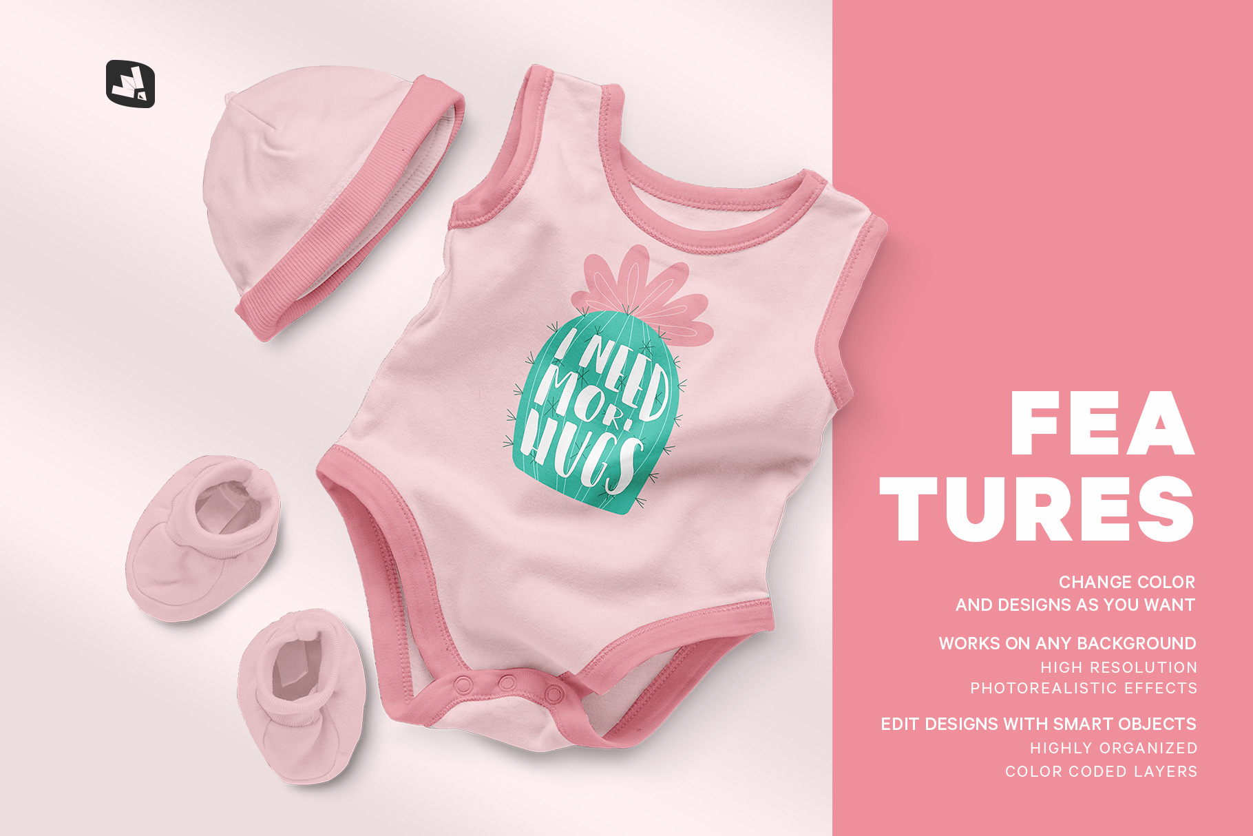 Baby Romper With Cap Mockup