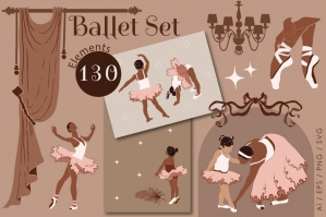 Ballet Set - Ballerina Graphic Clipart Kit