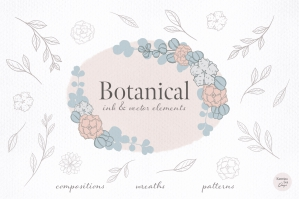Botanical Leaves & Flowers Vector Clip Art