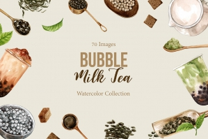 Bubble Milk Tea Watercolor Set