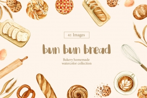 Bun Bun Bread Watercolor
