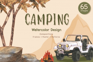Camping Travel Watercolor Set