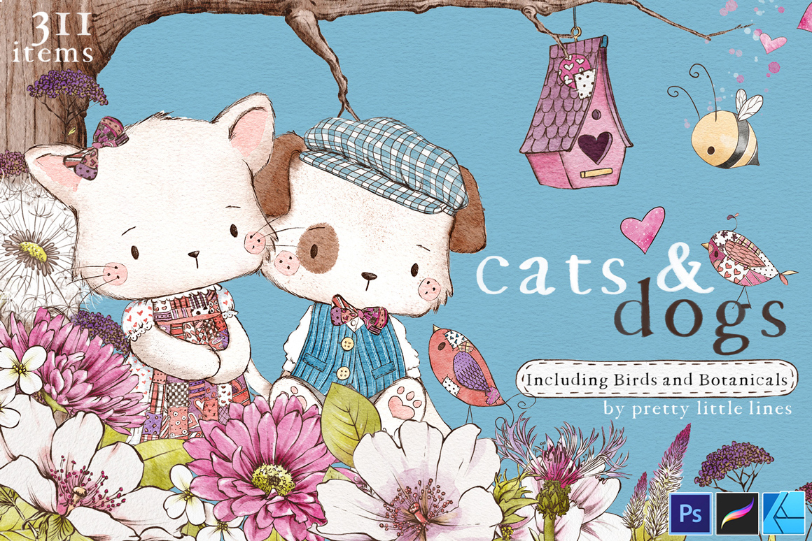 Cats & Dogs - A Loveable Illustration Collection