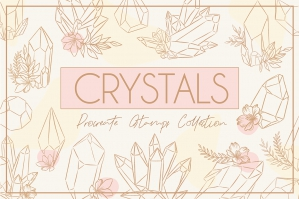 Crystal Flowers Procreate Stamps Set