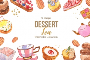 Dessert & English Tea Watercolor Set