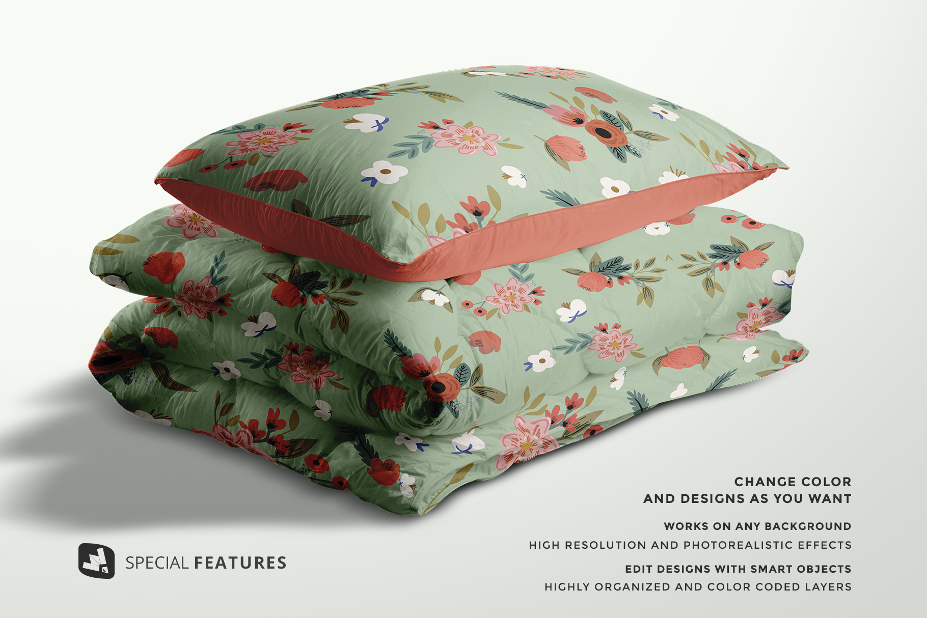 Duvet And Pillow Case Mockup