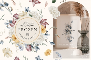 Frozen Flowers Watercolor Collection