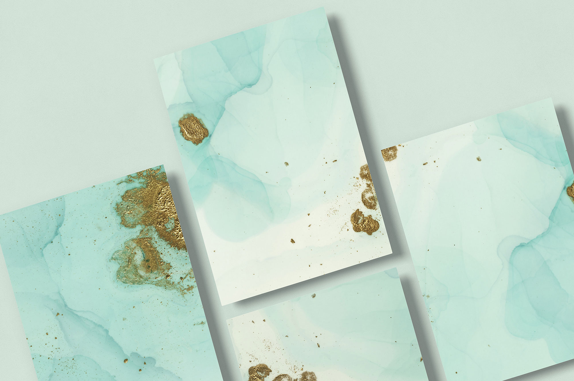 Handmade Turquoise Gold Crumbs Backgrounds