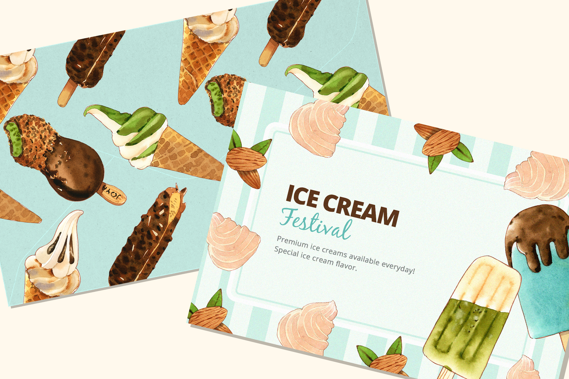 Ice Cream Sweet Summer Set Watercolor Illustration