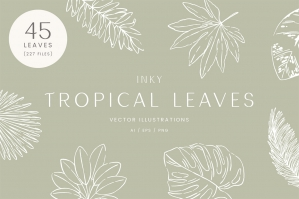 Inky Tropical Leaf Vector Illustrations