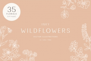 Inky Wildflower Vector Illustrations