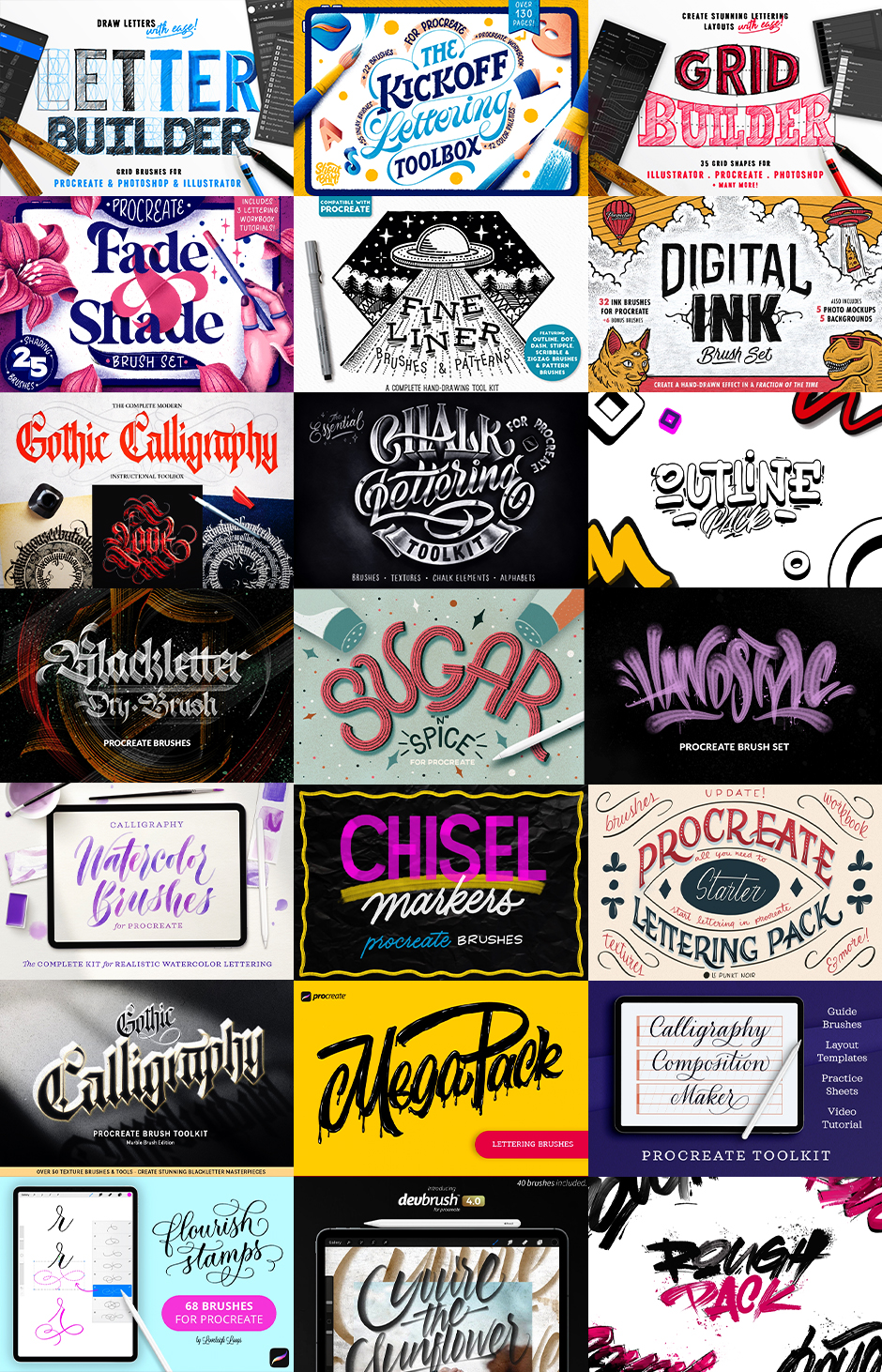 Lettering-Daily: The Colossal Procreate Brush Bundle