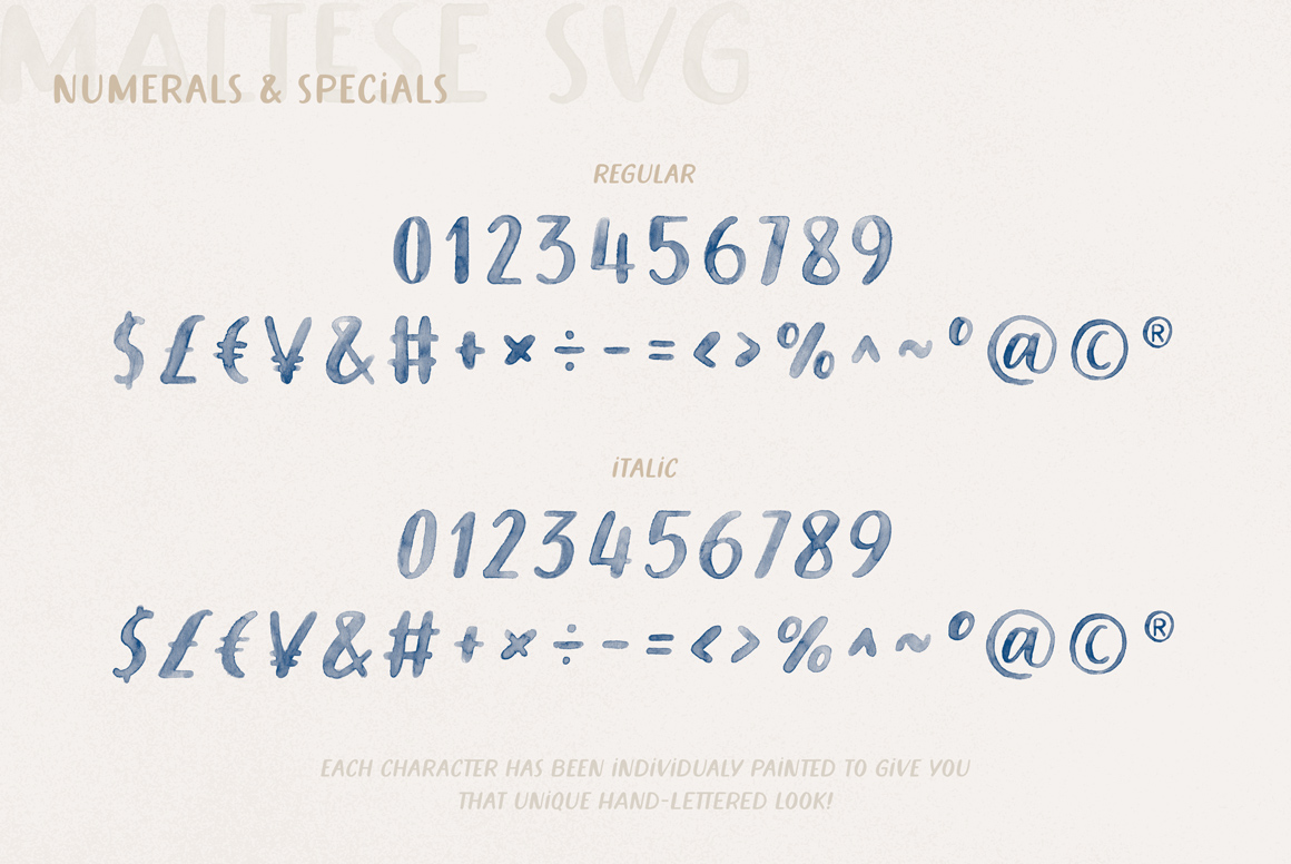 Maltese Hand Painted SVG Watercolor Font