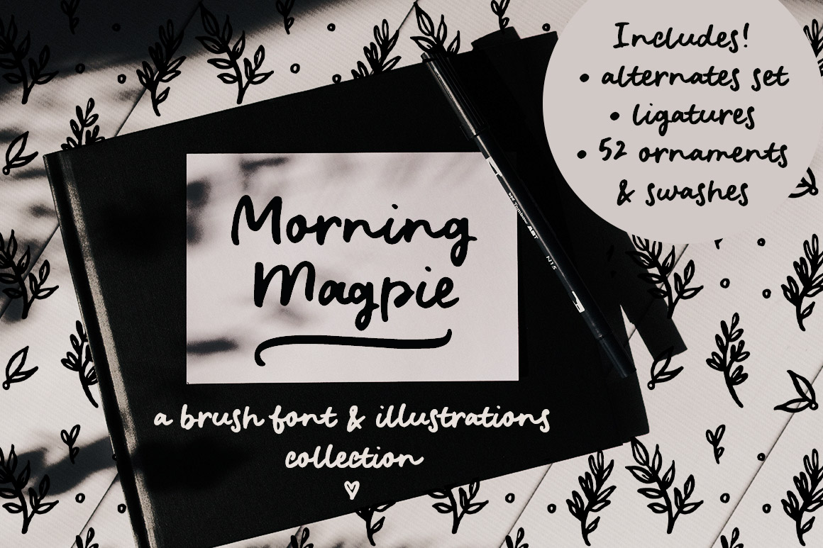 Morning Magpie Brush Font