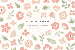 Naive Florals II Vector Illustrations